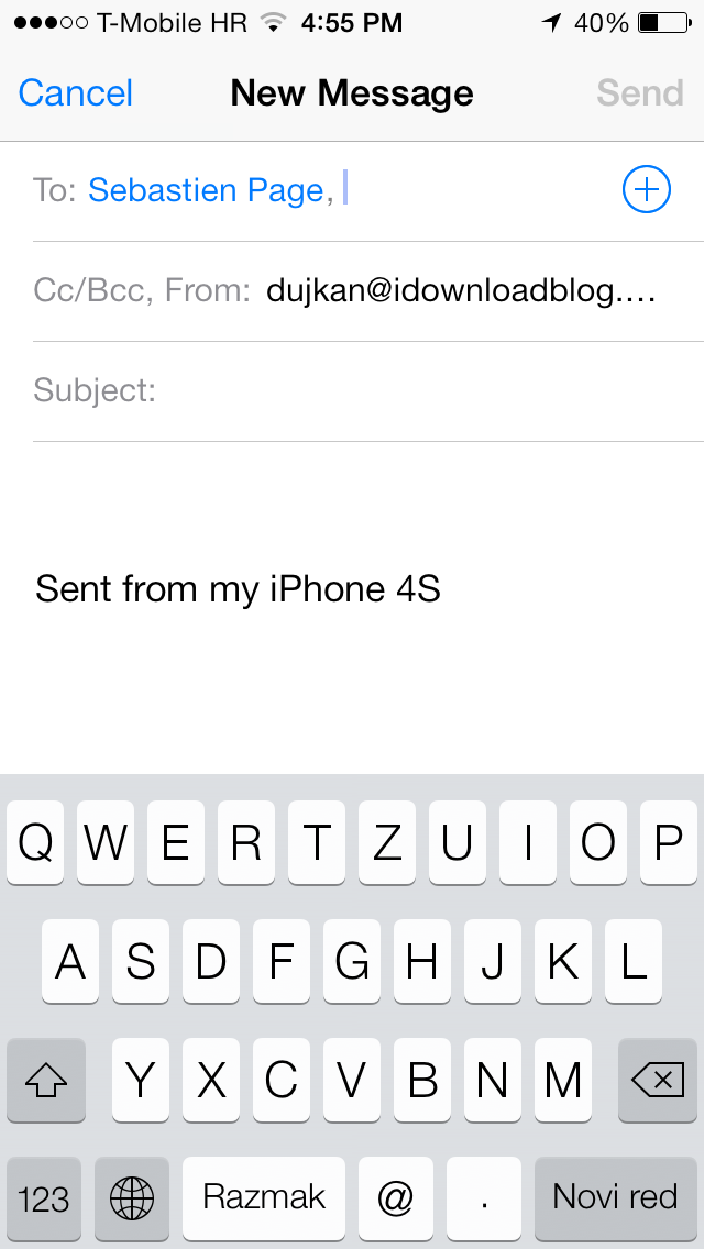 iOS 7 (Mail, Send From 002)