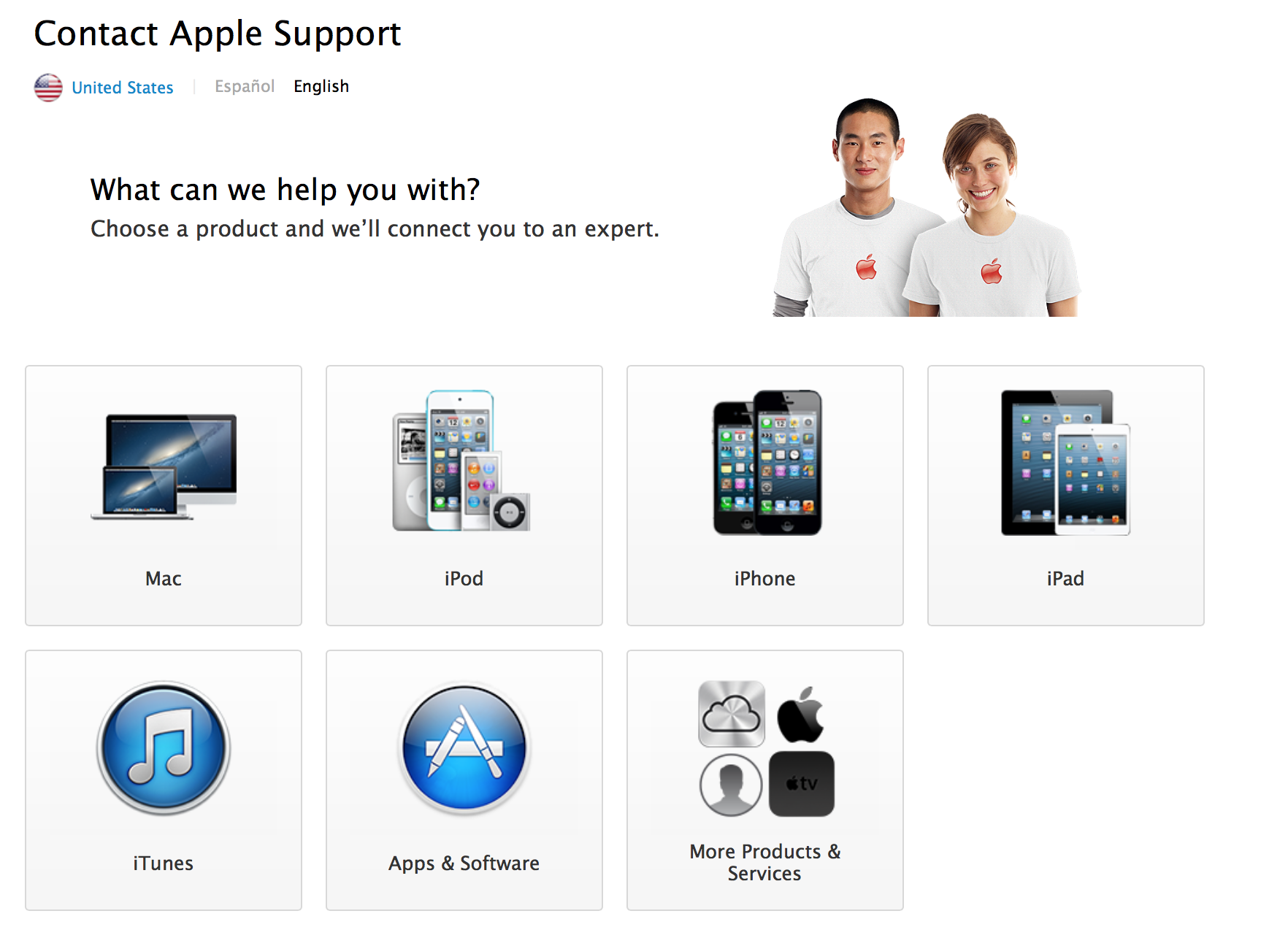 Apple Support (web screenshot, 20130827)