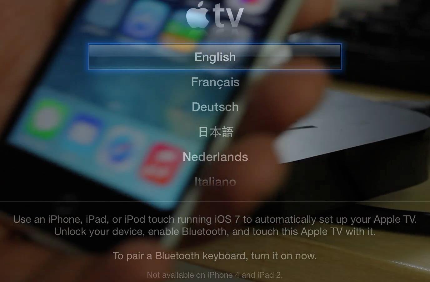 Apple TV beta Automatic Setup Bluetooth iOS 7