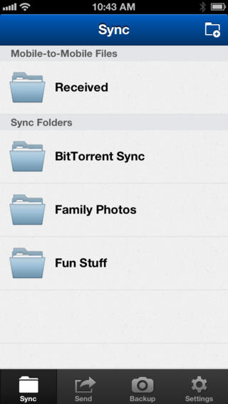 BitTorrent Sync (iPhone screenshot 001)