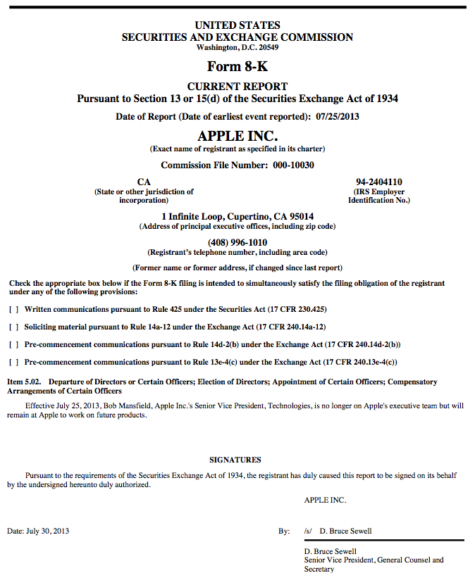 Bob Mansfield status change (SEC filing)