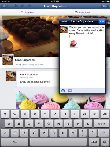 Facebook Pages Manager 2.1 for iOS (iPad screenshot 001)