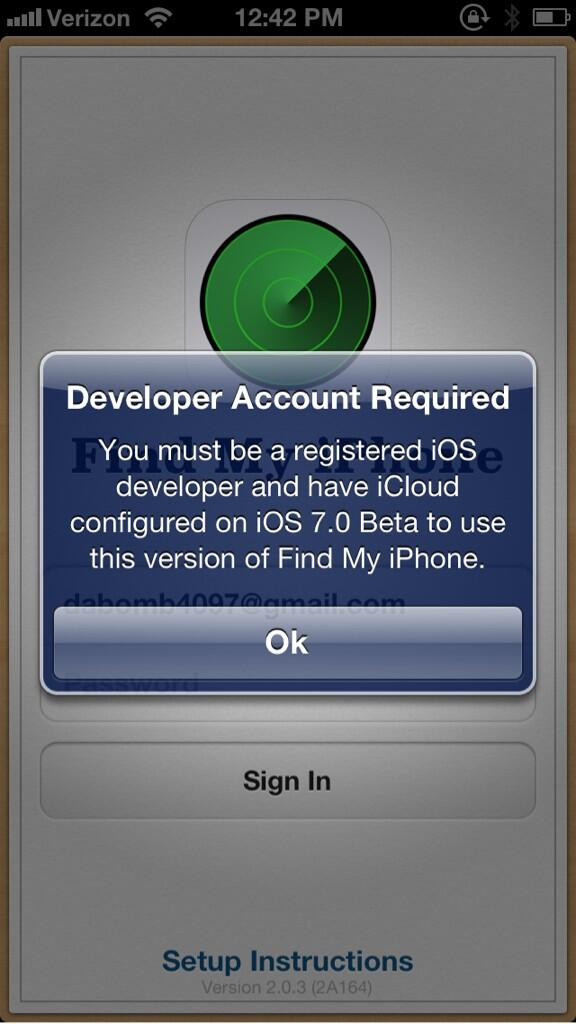 Find My iPhone (Developer Account required prompt 002)