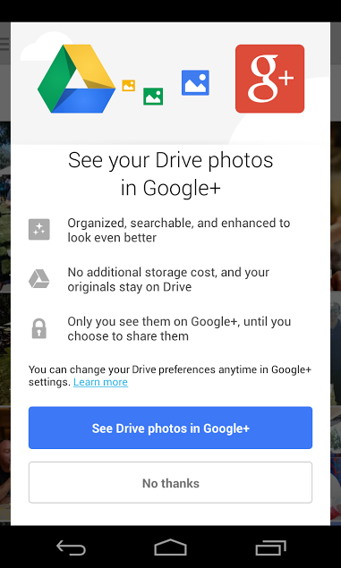 Google Plus 4.1 for Android (Google Drive Photos)