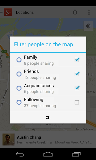 Google Plus 4.1 for Android (Location Sharing Filter)