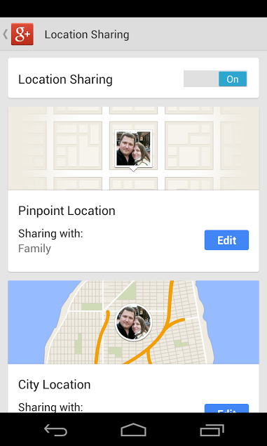 Google Plus 4.1 for Android (Location Sharing Settings)