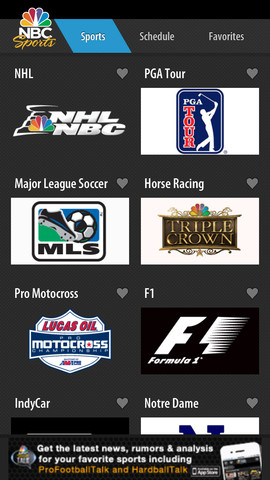 NBC Sports Live Extra 1.6.4 for iOS (iPhone screenshot 001)