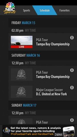 NBC Sports Live Extra 1.6.4 for iOS (iPhone screenshot 002)