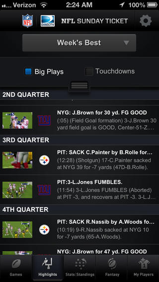 NFL Sunday Ticket for iOS (iPhone screenshot 001)