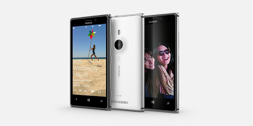 Nokia Lumia 925 (three up, front, right angled)