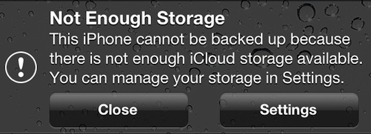 What to do when there is not enough iCloud storage to backup