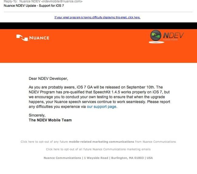 Nuance email (iOS 7 availability)