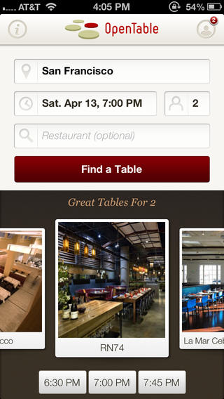 OpenTable 5.1 for iOS (iPhone screenshot 002)