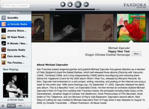 Pandora 4.5 for iOS (iPad screenshot 001)