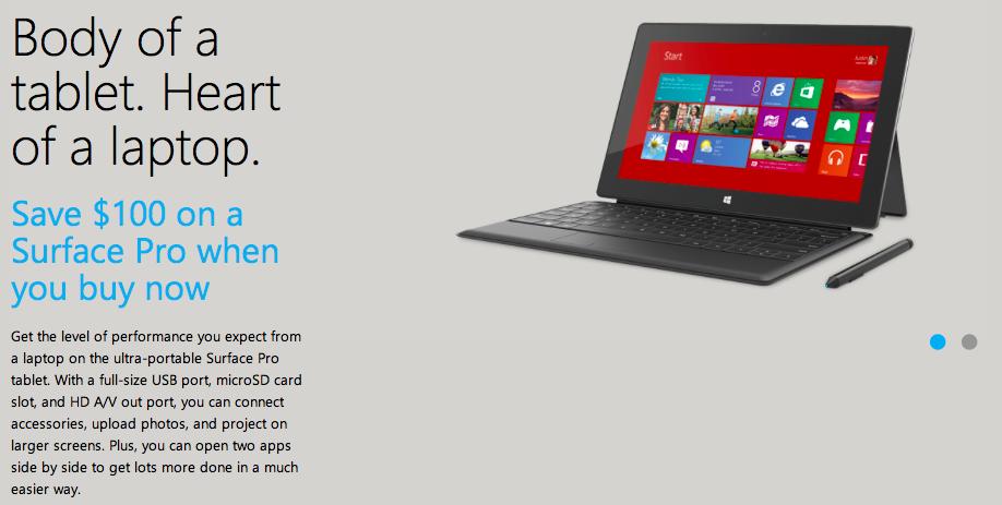 Surface Pro $100 cheaper