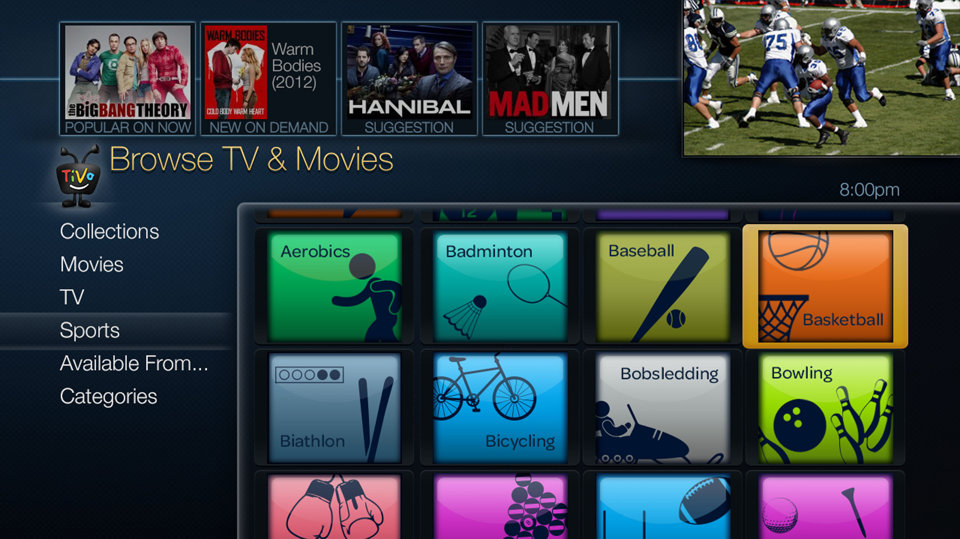TiVo Roamio (interface)