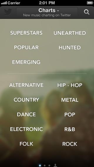 Twitter Music 1.2 for iOS (iPhone screenshot 001)