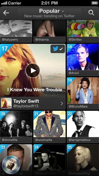 Twitter Music 1.2 for iOS (iPhone screenshot 002)