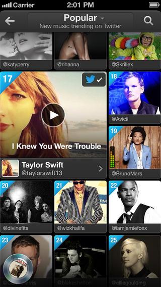 Twitter Music 1.2 for iOS (iPhone screenshot 002)