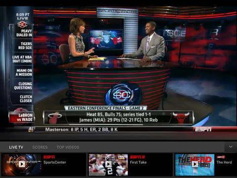 WatchESPN 1.7 for iOS (iPad screenshot 001)