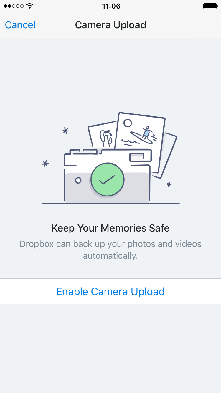 dropbox iPhone camera photo backup