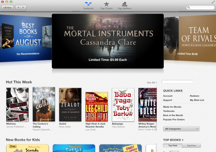 iBooks for OS X Mavericks (iBookstore, Featured)