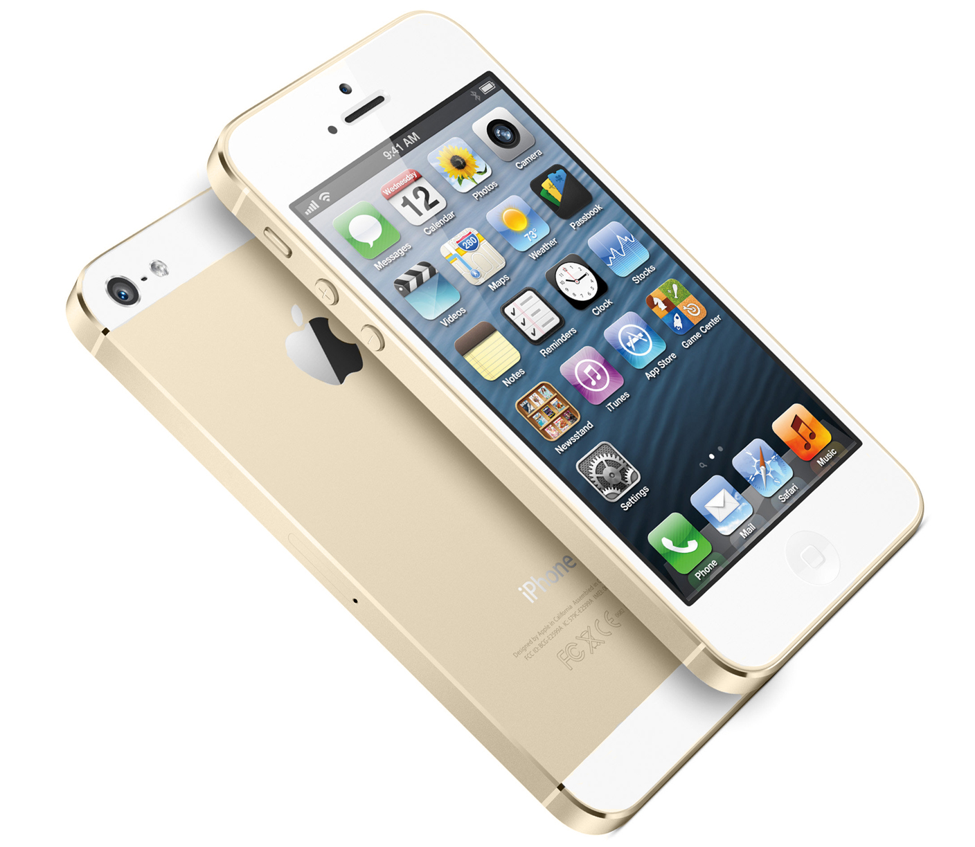 iPhone 5S (gold, two-up, left angled)