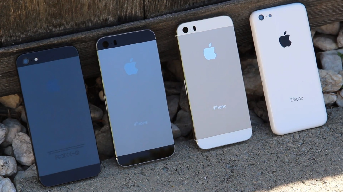 iPhones (iPhone 5, graphite gold iPhone 5S, iPhone 5C)
