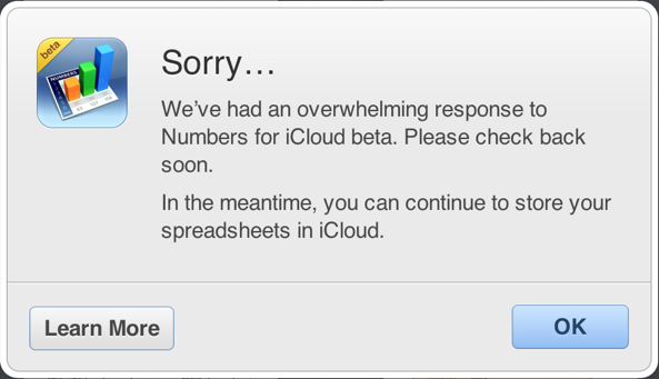 iWork for iCloud sign-ups prompt