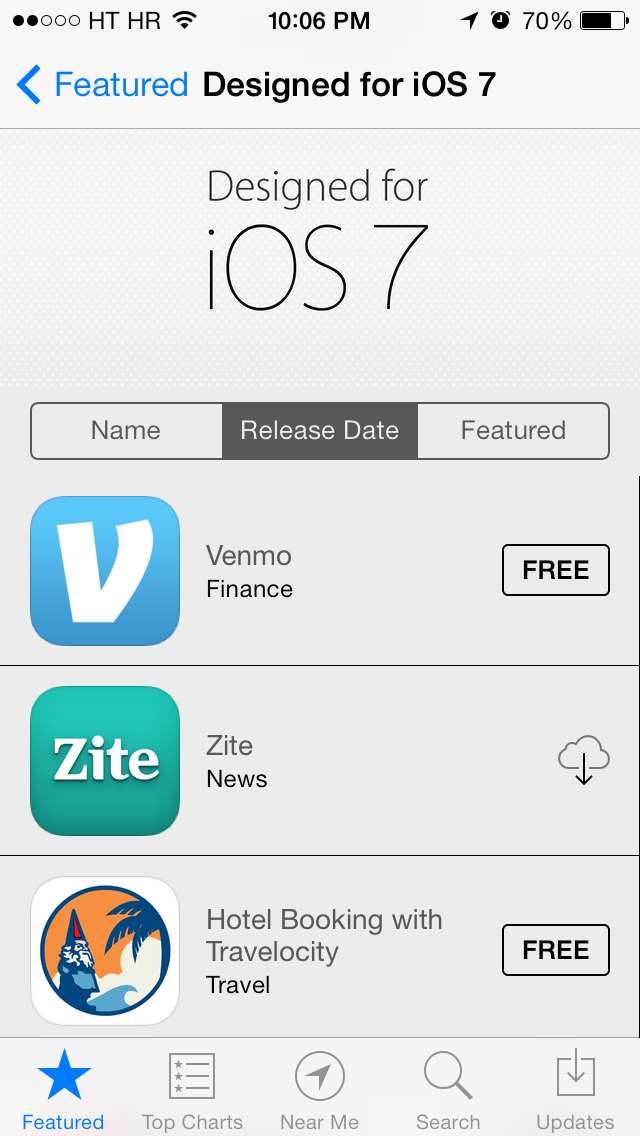 App Store (Designed for iOS 7, Release Date)