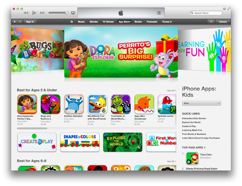 App Store Kids section (desktop iTunes)