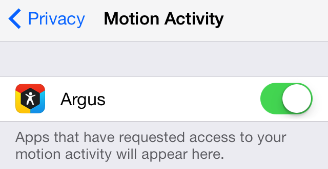 Argus Motion Activity setting