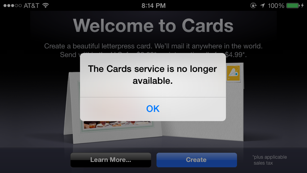 Cards iOS app (no longer available)