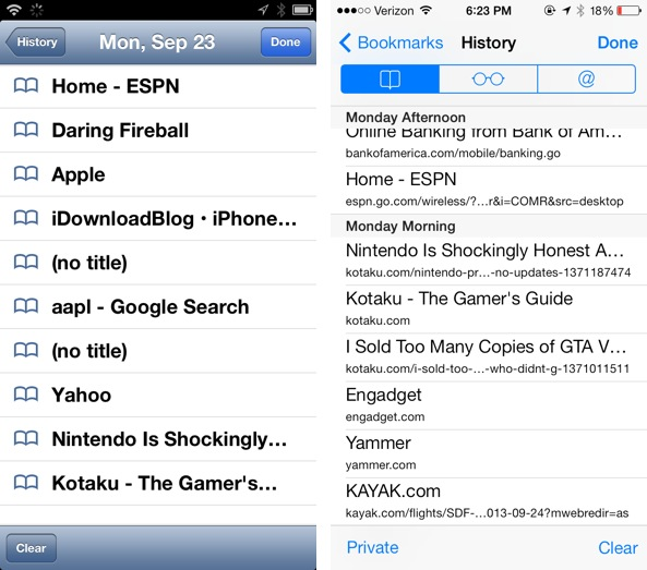 History iOS 6 vs iOS 7 Safari