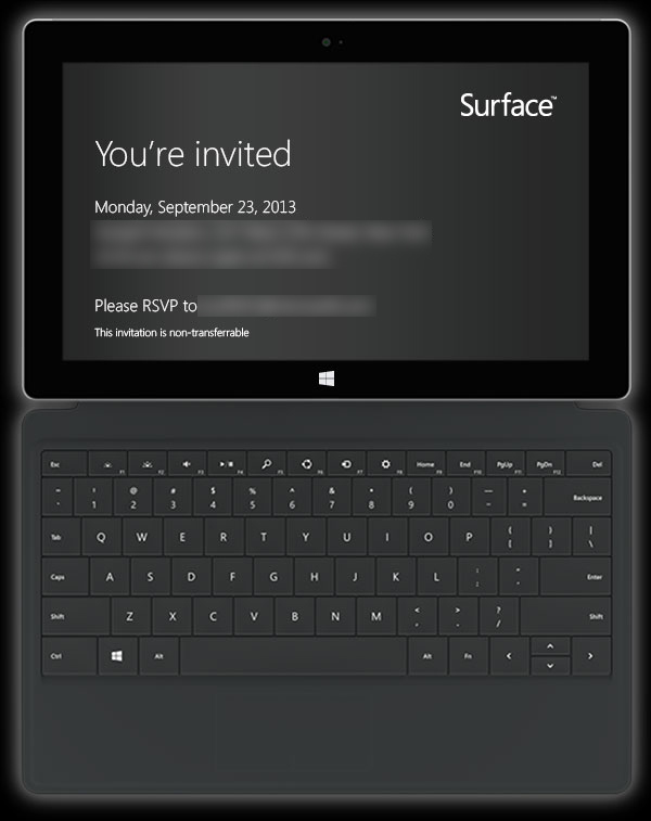 Microsoft (September 23 Surface 2 invite)