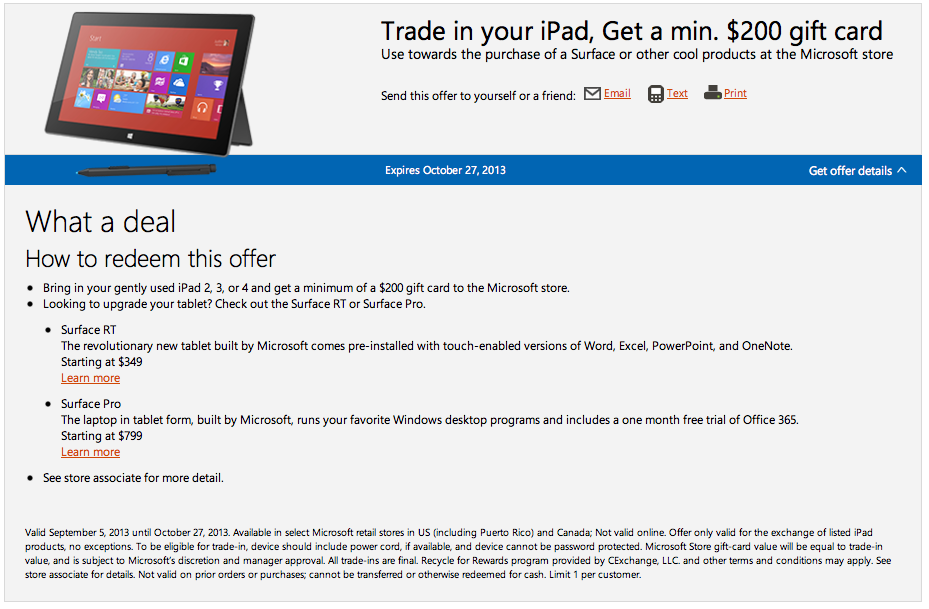 Microsoft iPad trade-in