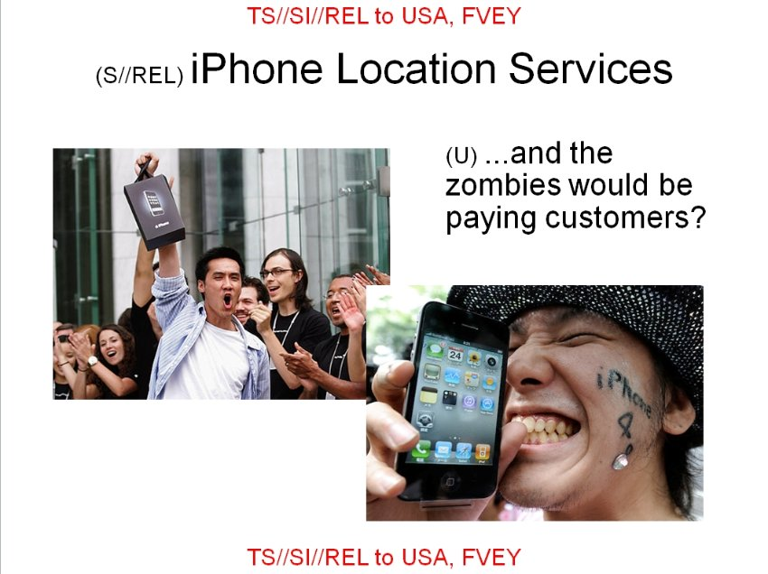 NSA slide (Apple customers are zombies)
