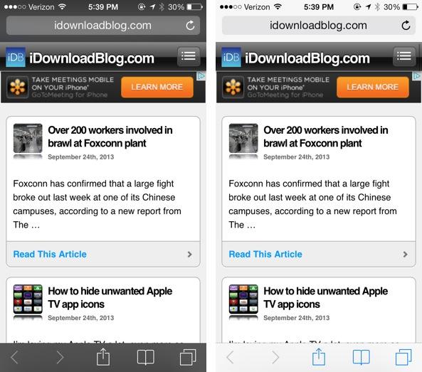 Private browsing vs non private iOS 7