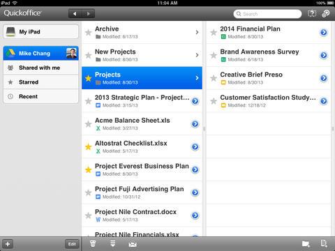 QuickOffice 6.1 for iOS (iPad screenshot 001)