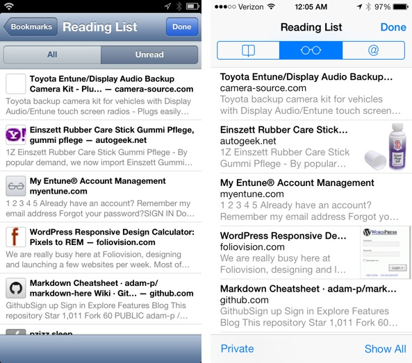 Reading List iOS 6 vs iOS 7