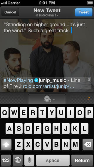 Twitter Music 1.3 for iOS (iPhone screenshot 001)