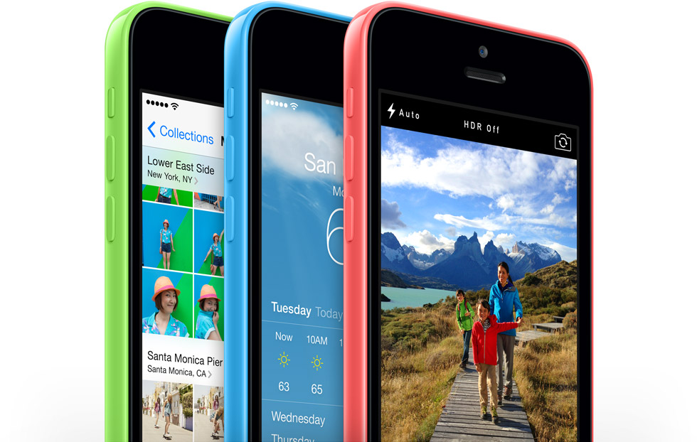 green blue pink iPhone 5c side by side