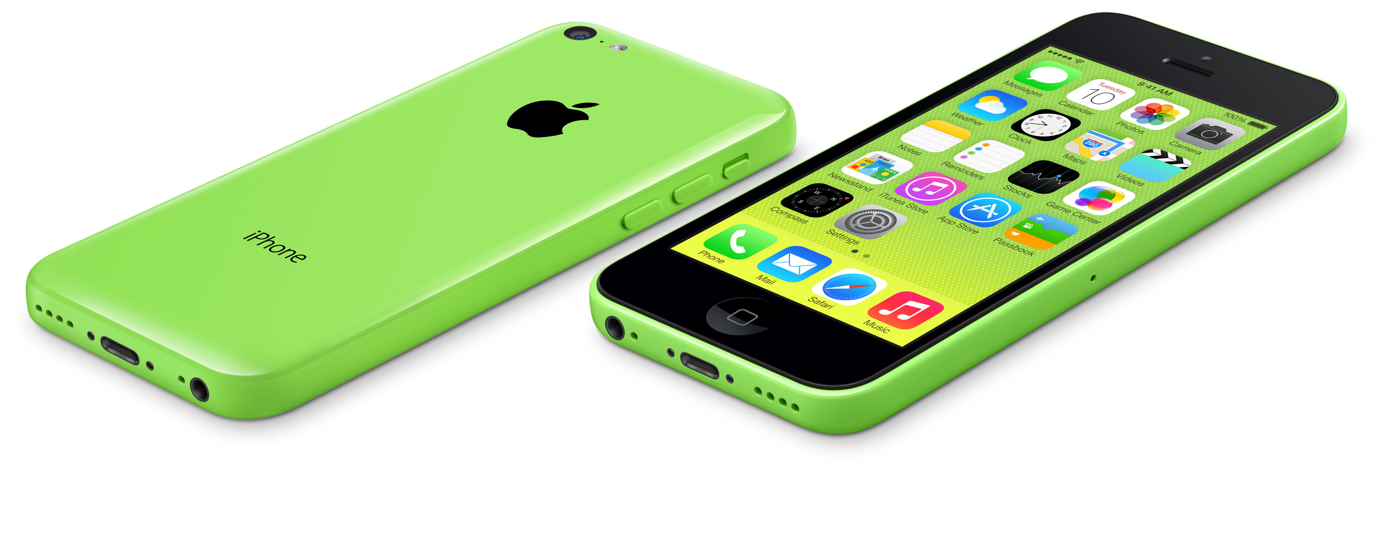 green iPhone 5c front and back