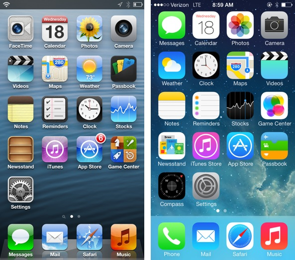 iOS 6 vs iOS 7 Home screen
