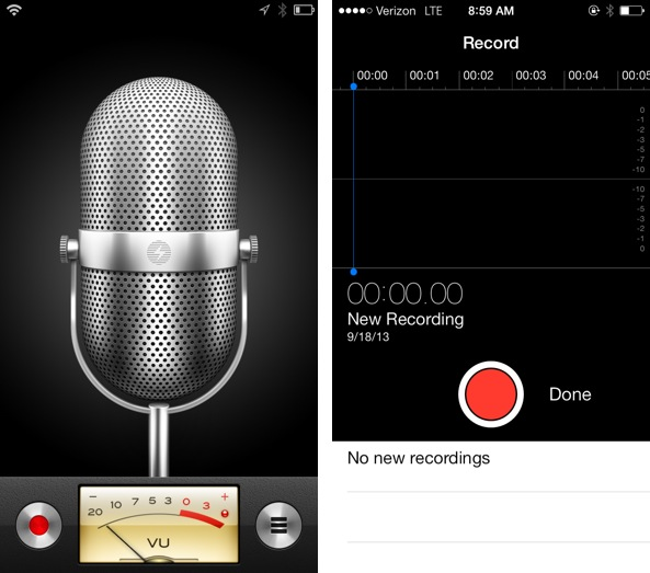 iOS 6 vs iOS 7 Voice Memos