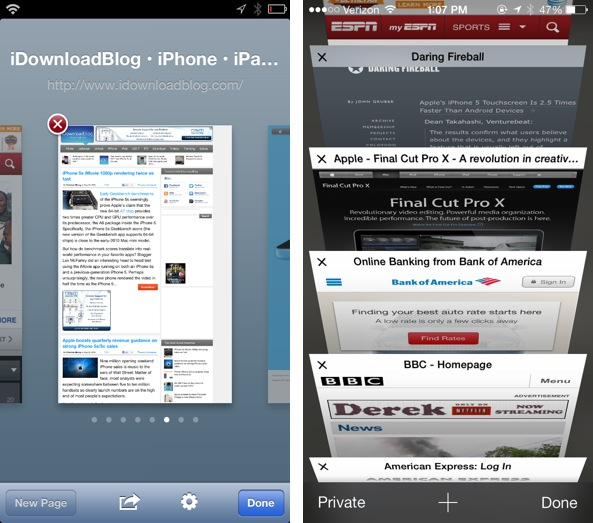 iOS 6 vs iOS 7 safari tabs