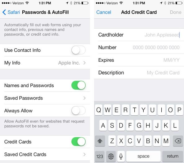 iOS 7 Safari Credit Card Passwords AutoFill