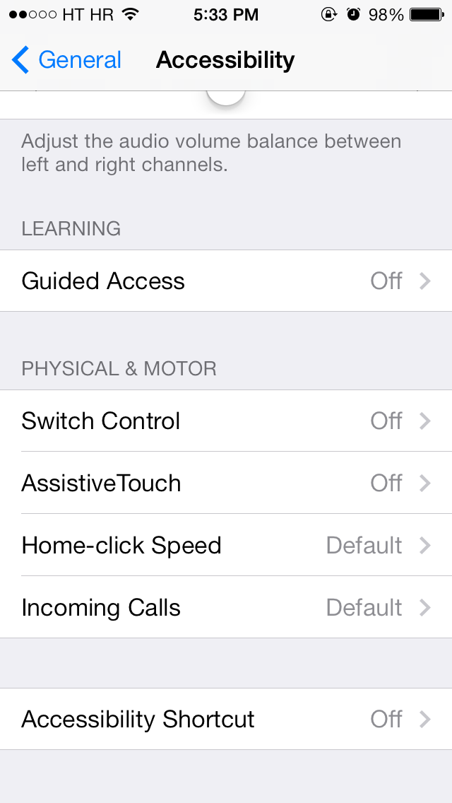 iOS 7 (Settings, Accessibility 010)