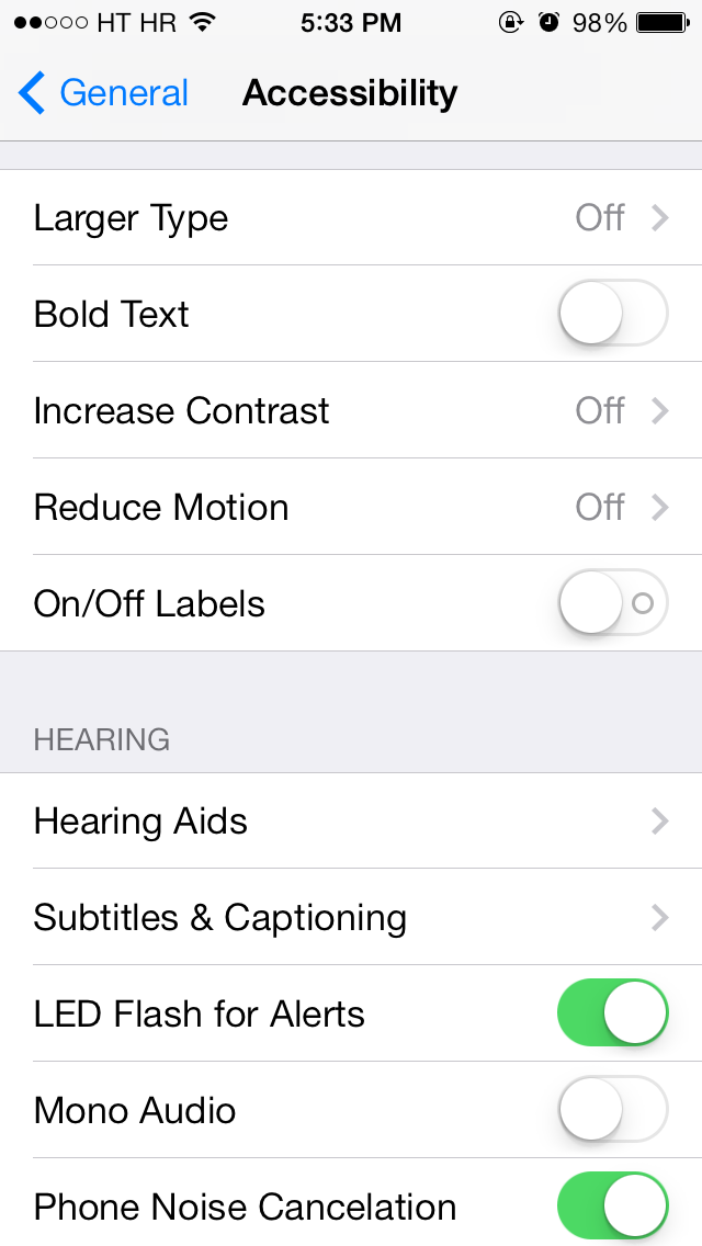 iOS 7 (Settings, Accessibility 011)