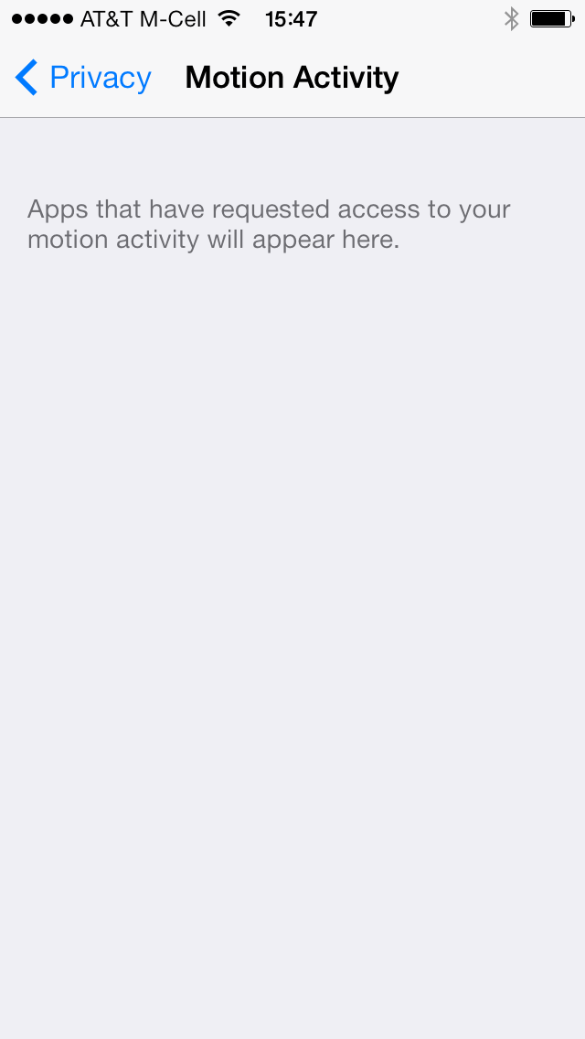 iOS 7 (Settings, Motion Activity 001)